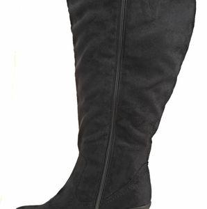 Avenue Nekka Black Suede Wedge 13 WW Calf Boots